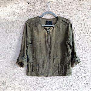 SANCTUARY Olive Green Textured Utility Jacket